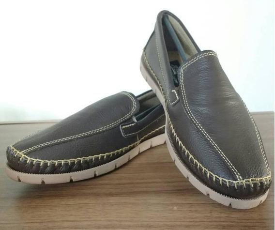 Sapato Masculino Mocassim Abc Couro Legitimo Marrom