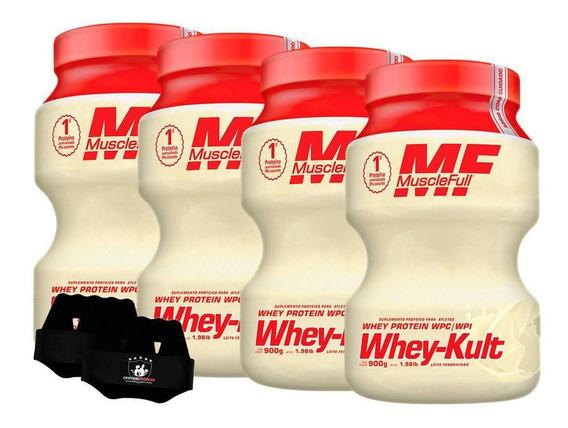 Kit 4x Whey Kult 900g Natural Muscle Full + Luva