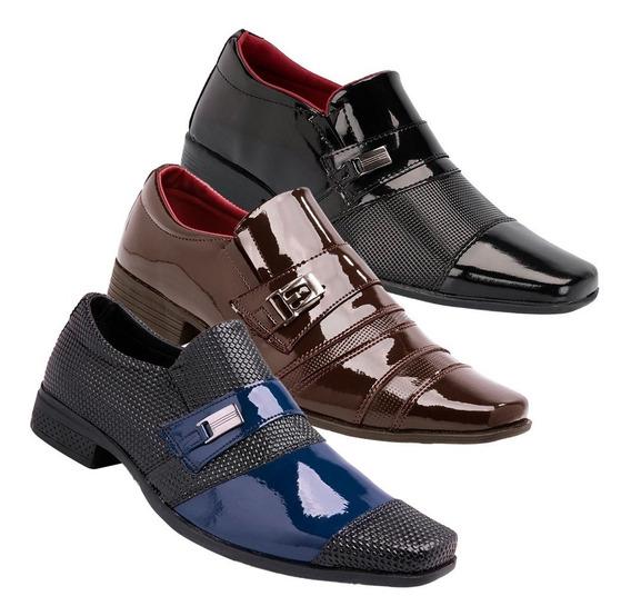 Kit 3 Pares Sapato Social Envernizado Luxuoso Leve K20