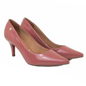 Sapato Feminino Scarpin Vizzano Verniz Branco/preto Salto