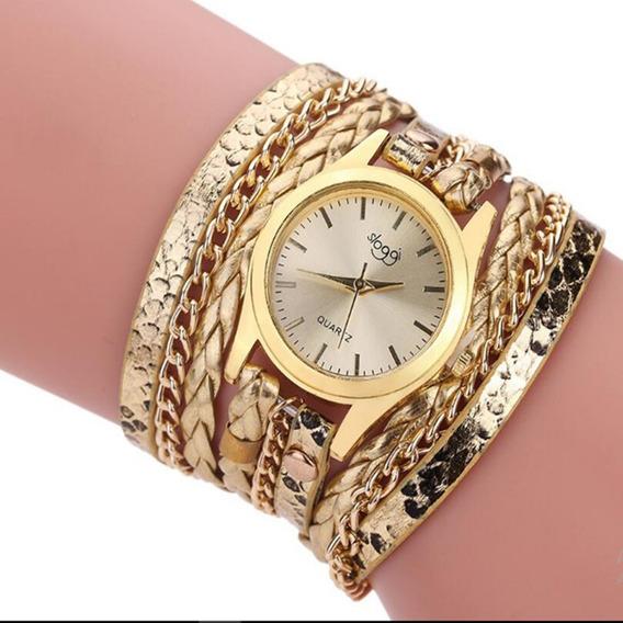 D) Relógio Pulseira De Couro Sloggi - Quartz Feminino.promoção