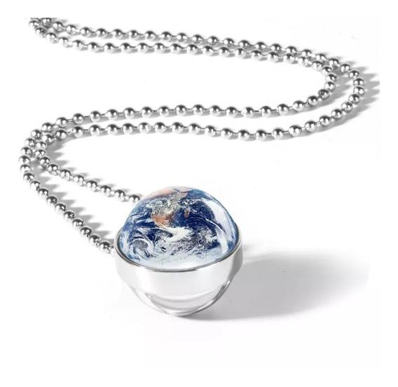 Colar Com Pingente Sistema Solar, Lua, Sol, Terra, Planetas