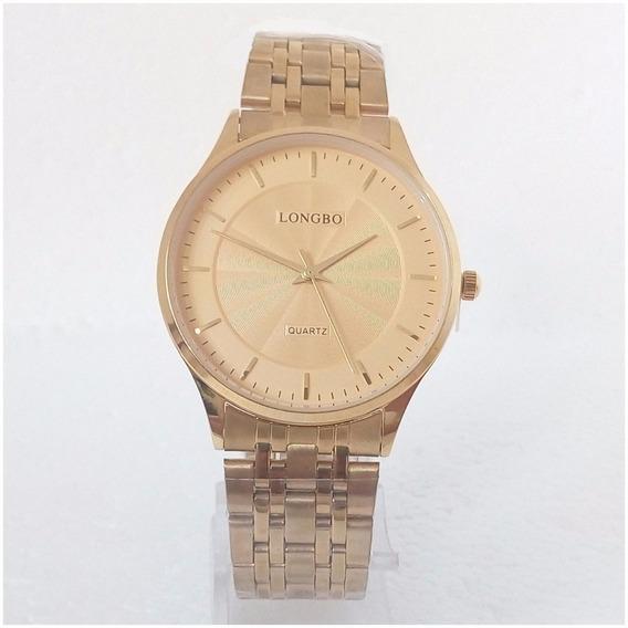 Relógio Masculino Longbo Slim Quartz Original Dourado Vip