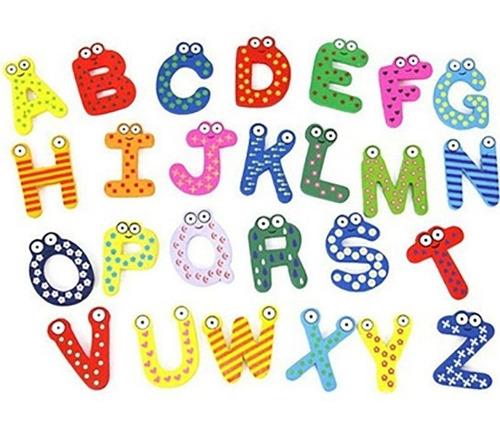52 Letras De Madera Magnéticas Imán Abecedario- Artico Store