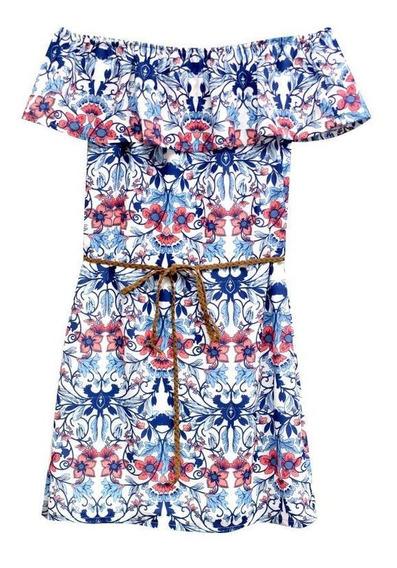 Vestido Estampado Azul Ivory Grande