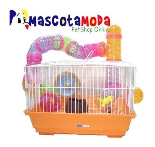 Imagen 1 de 1 de Jaula Hamster Con Túneles  Accesorios Rueda Bebedero Bandeja