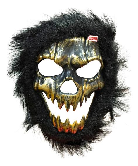 Máscara Calavera Con Pelo Disfraz Halloween- Ciudad Cotillón