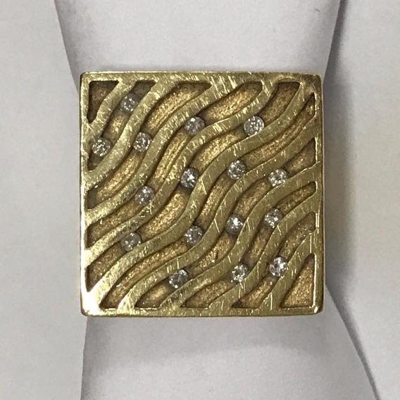 Anel Em Ouro 18k-750 Com Diamantes, Aro 17, Peso: 7,5 Gramas