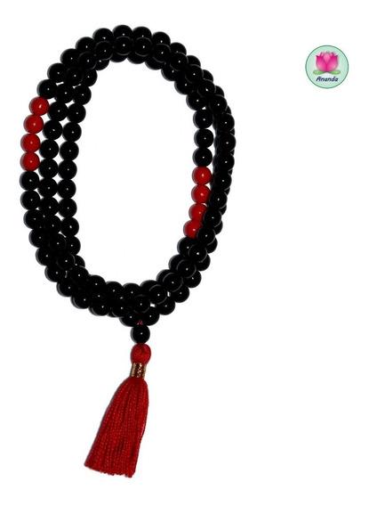 Japa Mala Budista, Cristal Negro Brillante Y Rojo Brillante