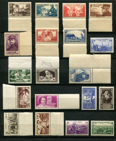 Sellos Francia Año 1940 Completo Yvert 451-469 Mnh