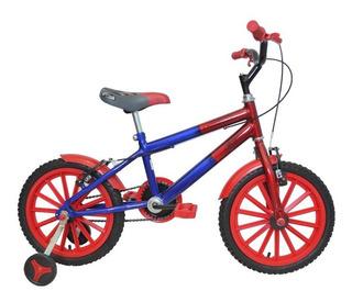 Bicicleta Aro 16 Infantil Masculina Azul C/ Vermelho