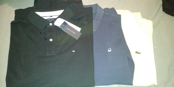 3 Camisas Tipo Polo Lacoste Tommy Benetton Xl