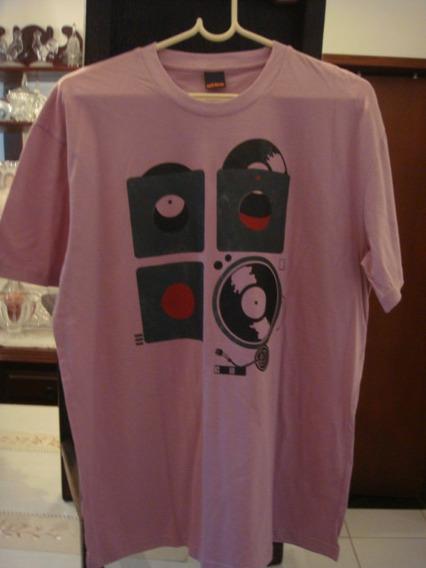 Blusa Camisa Malha Rosa Tam. G T-shirt
