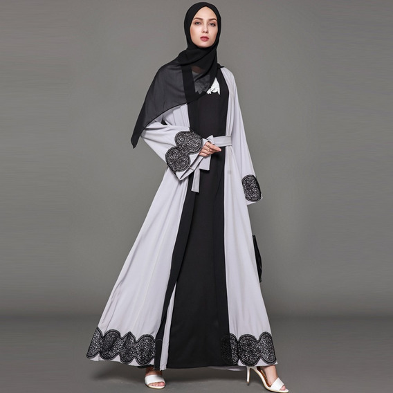 Manga Longa Islamic Abaya Maxi Dress Outwear Cinzenta Xl
