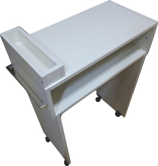 Mesa Manicure 60cm Com Rodas Com Alças E Compartimento