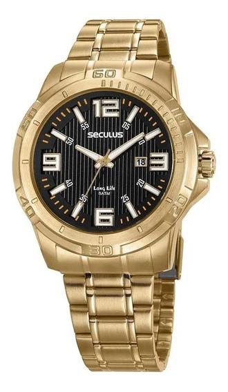 Relógio Dourado Seculus Masculino 20621gpsvda2