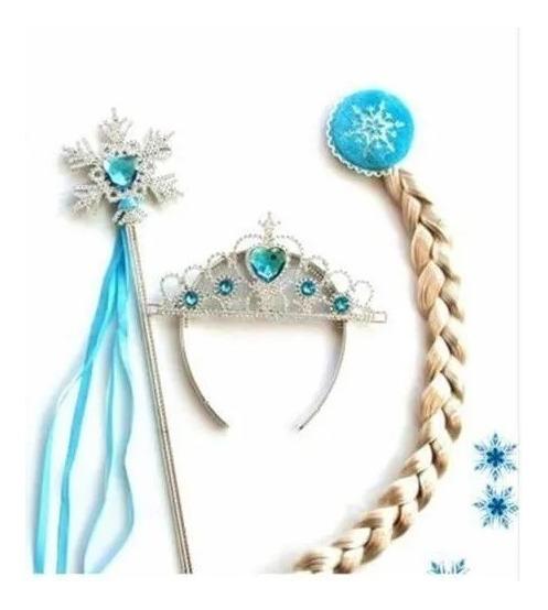 Kit Frozen Coroa Varinha E Trança Elsa Fantasia Festa