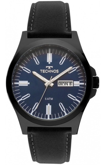 Relógio Technos Masculino Classic Steel Couro Preto Original