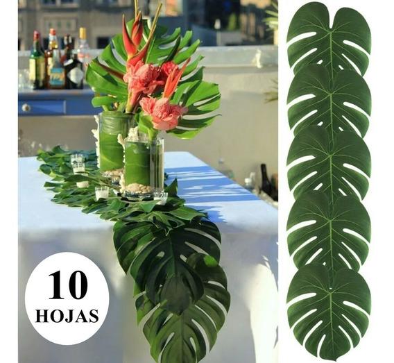 Hoja Artificial Decoración De Palma Tropical 10 Unidades