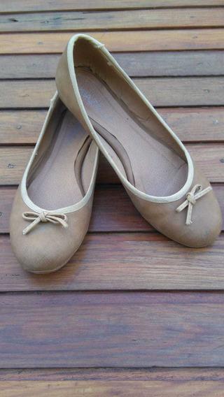 Chatitas Balerinas Zapato Bajo Dama Beige Kiazalla 39