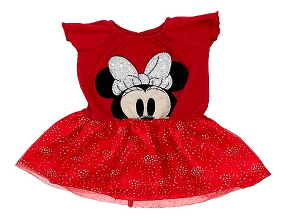 Vestido Algodon  Con Bordado Disney Minnie
