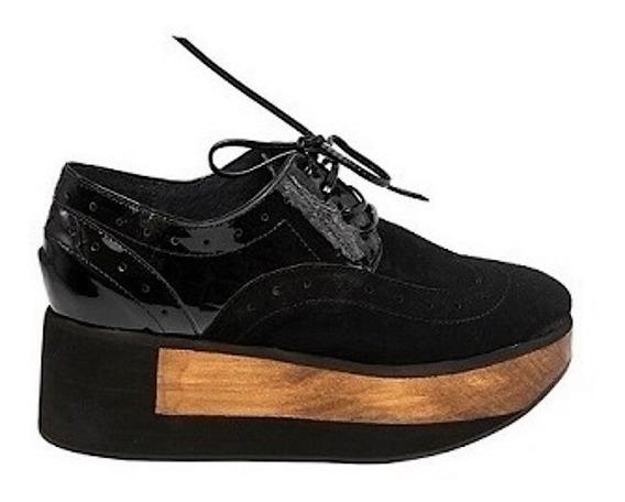Zapato Mujer Natacha Gamuza Y Croco Plataforma #1222