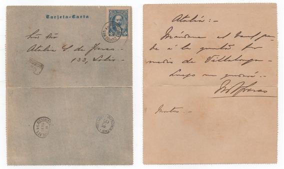 Tarjeta Carta 2 Centavos Año 1891 Circulada