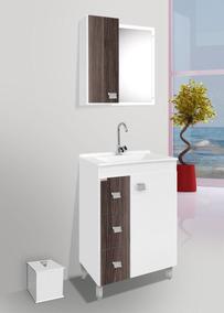 Gabinete Para Banheiro Kit Ecco Com Pés + Cuba + Espelheira