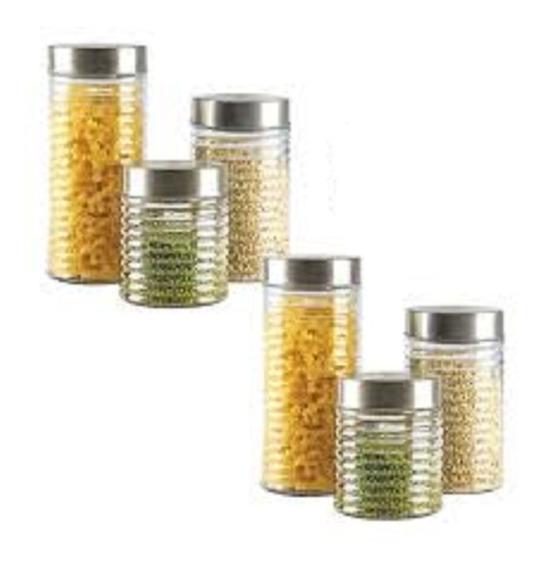 Set De 3 Frascos De Vidrio Tapa Acero 100% Diseño