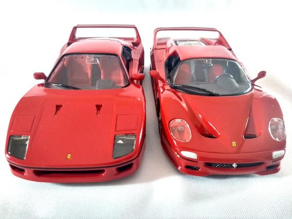 Kit Ferrari F40 Vermelha + Ferrari F50 Vermelha Bburago 1:24