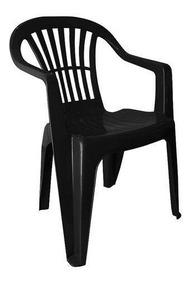 Cadeira Poltrona De Plastico Cor Preta Com Apoio De Braço Un