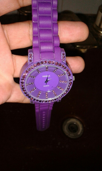 Relógio Feminino Quartz Geneva Com Pulseira De Silicone
