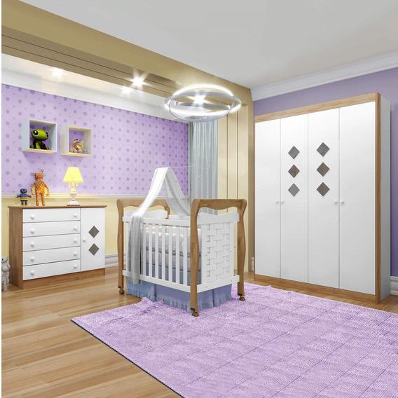 Quarto De Bebê Completo Com Guarda Roupa, Berço Mini Cd