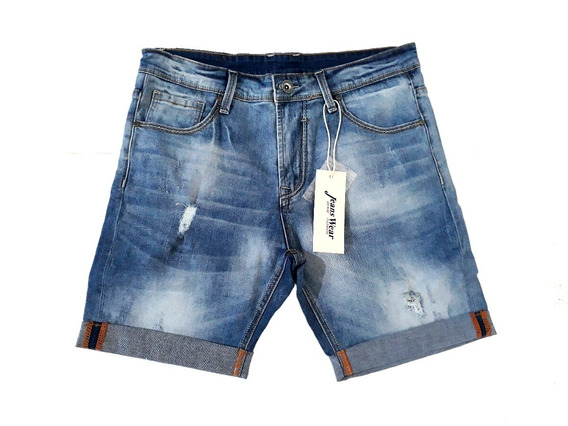 Bermuda De Jeans Hombre Elastizada Desgaste The Dark King