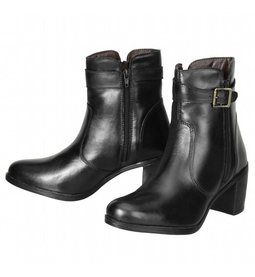 Bota Feminina Cano Curto Dududias Ankle Boot Couro Leg 243