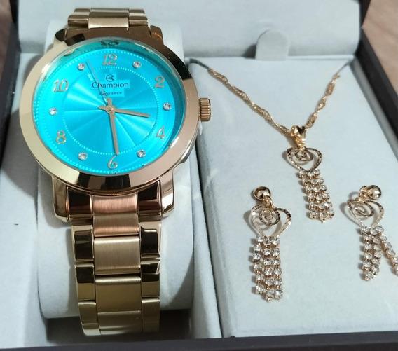 Relógio Champion Dourado Feminino + Colar E Brinco Cn26573y