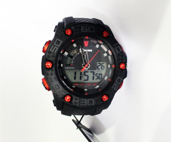 Relógio Preto Com Detalhes Vermelho Esporte Da Marca Xgames