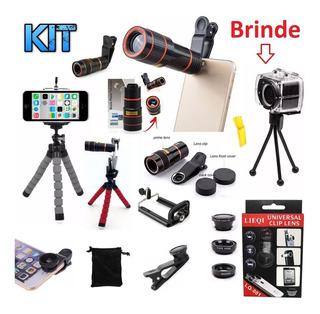 Kit 4x1 Super Luneta + Lentes Fisheye + Tripé Câmera Celular
