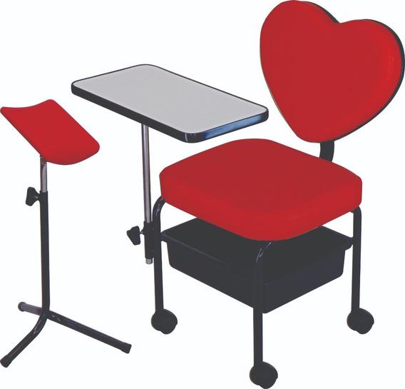 Cadeira Manicure + Tripé Pedicure Kit Love 01