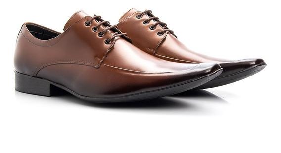 Sapato Masculino Em Couro Legítimo Bico Quadrado Social Conforto