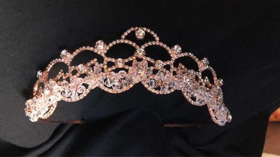 Tiara ,tocado,corona Oro Rosa ,novia Xvaños