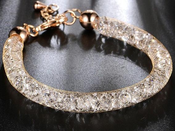Pulseira Dourada Com Pedras Strass Brilhantes Tipo Swarovski