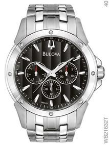 Relógio Bulova Masculino Prata Fundo Preto Wb21632t