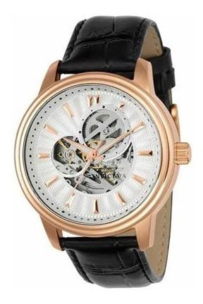 Relógio Invicta Automático Vintage Preto/rose Couro 22579