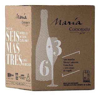 Pack 6 Champagne Maria Codorniu Extra Brut X750cc + 3 Copas