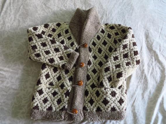 Sweater De Lana Gris Claro Con Blanco Y Cafe Obscuro