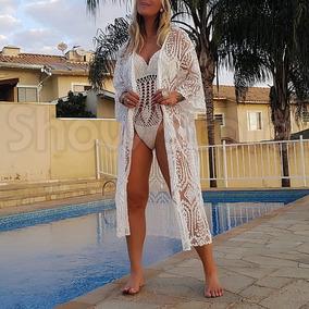 e30e5173d Saida De Praia Branca Transparente Moda - Calçados, Roupas e Bolsas ...