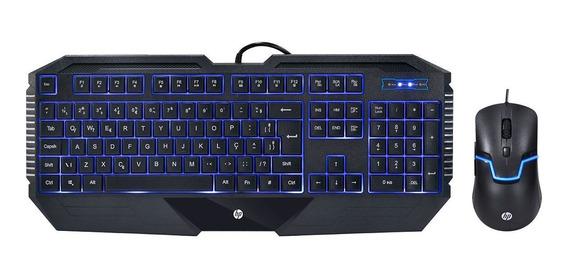 Kit Teclado E Mouse Hp Gamer - Gk1100 Black Com Led Azul