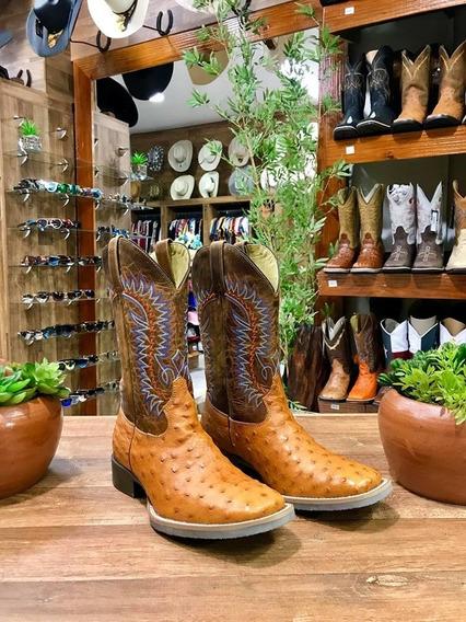 Bota Texana Country Avestruz Whisky Claro Bico Quadrado