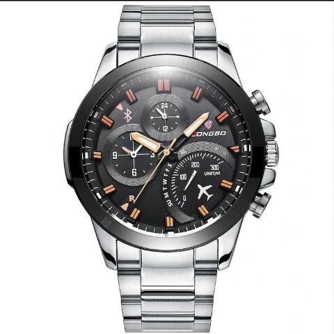 Relógio Correia De Aço De Quartzo Longbo 80228 Impermeável